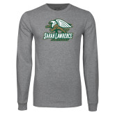 Grey Long Sleeve T Shirt-Primary Athletics Mark Distressed