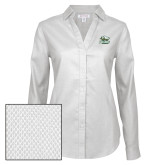 Ladies Red House Diamond Dobby White Long Sleeve Shirt-Primary Athletics Mark
