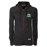 Ladies Under Armour Black Varsity Full Zip Hoodie-Primary Athletics Mark