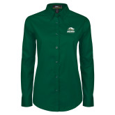Ladies Dark Green Twill Button Down Long Sleeve-Primary Athletics Mark