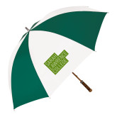 62 Inch Forest Green/White Umbrella-Primary Mark