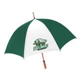 62 Inch Forest Green/White Umbrella-Primary Athletics Mark