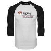 White/Black Raglan Baseball T Shirt-125 Years Mark