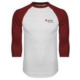 White/Cardinal Raglan Baseball T Shirt-Primary Mark