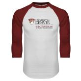 White/Cardinal Raglan Baseball T Shirt-125 Years Mark