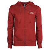 ENZA Ladies Cardinal Fleece Full Zip Hoodie-Primary Mark