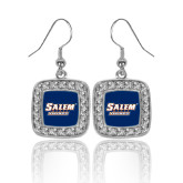 Crystal Studded Square Pendant Silver Dangle Earrings-Salem State Vikings Word Mark