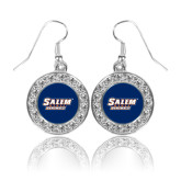 Crystal Studded Round Pendant Silver Dangle Earrings-Salem State Vikings Word Mark