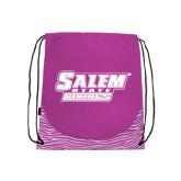 Nylon Zebra Pink/White Patterned Drawstring Backpack-Salem State Vikings Word Mark