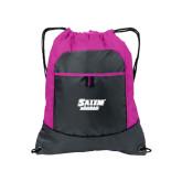 Nylon Pink Raspberry/Deep Smoke Pocket Drawstring Backpack-Salem State Vikings Word Mark