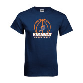 Navy T Shirt-Vikings Basketball w/Ball