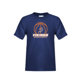 Youth Navy T Shirt-Vikings Basketball w/Ball