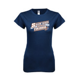 Next Level Ladies SoftStyle Junior Fitted Navy Tee-Salem State Hockey Slanted