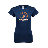 Next Level Ladies SoftStyle Junior Fitted Navy Tee-Vikings Basketball w/Ball