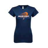 Next Level Ladies SoftStyle Junior Fitted Navy Tee-Salem State Lacrosse Modern