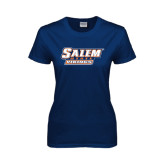 Ladies Navy T Shirt-Salem State Vikings Word Mark