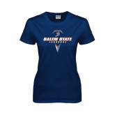 Ladies Navy T Shirt-Salem State Geometric Lacrosse Stick