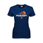 Ladies Navy T Shirt-Salem State Lacrosse Modern