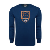 Navy Long Sleeve T Shirt-Salem State Soccer Shield