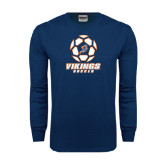 Navy Long Sleeve T Shirt-Salem State Soccer Geometric Ball