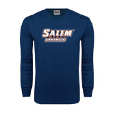 Navy Long Sleeve T Shirt-Salem State Vikings Word Mark