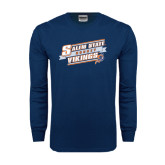 Navy Long Sleeve T Shirt-Salem State Hockey Slanted