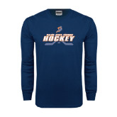 Navy Long Sleeve T Shirt-Salem State Vikings Hockey