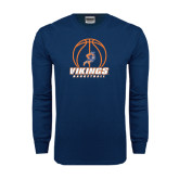 Navy Long Sleeve T Shirt-Vikings Basketball w/Ball