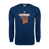 Navy Long Sleeve T Shirt-Vikings Basketball w/Net