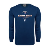 Navy Long Sleeve T Shirt-Salem State Geometric Lacrosse Stick