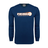 Navy Long Sleeve T Shirt-Vikings Baseball w/Flyng Ball