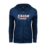 ENZA Ladies Navy Fleece Full Zip Hoodie-Salem State Vikings Word Mark