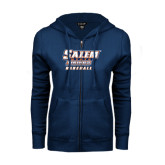 ENZA Ladies Navy Fleece Full Zip Hoodie-Baseball