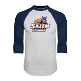 White/Navy Raglan Baseball T-Shirt-Primary Logo