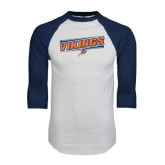White/Navy Raglan Baseball T-Shirt-Slanted Vikings w/ Viking