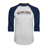 White/Navy Raglan Baseball T-Shirt-Salem State University Arched