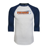 White/Navy Raglan Baseball T-Shirt-Vikings Baseball w/Flyng Ball