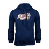 Navy Fleece Hoodie-Salem State Hockey Slanted