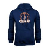 Navy Fleece Hoodie-Vikings Basketball w/Ball