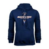 Navy Fleece Hoodie-Salem State Geometric Lacrosse Stick