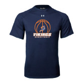 Under Armour Navy Tech Tee-Vikings Basketball w/Ball