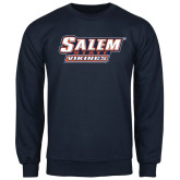 Navy Fleece Crew-Salem State Vikings Word Mark