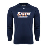 Under Armour Navy Long Sleeve Tech Tee-Salem State Vikings Word Mark
