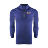 Under Armour Navy Tech 1/4 Zip Performance Shirt-Salem State Vikings Word Mark