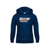 Youth Navy Fleece Hoodie-Salem State Vikings Word Mark
