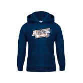 Youth Navy Fleece Hoodie-Salem State Hockey Slanted