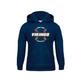 Youth Navy Fleece Hoodie-Vikings Baseball w/Seams