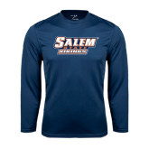 Syntrel Performance Navy Longsleeve Shirt-Salem State Vikings Word Mark