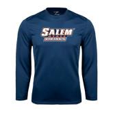 Syntrel Performance Navy Longsleeve Shirt-Salem State Vikings Word Mark