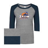 ENZA Ladies Athletic Heather/Navy Vintage Triblend Baseball Tee-Primary Logo